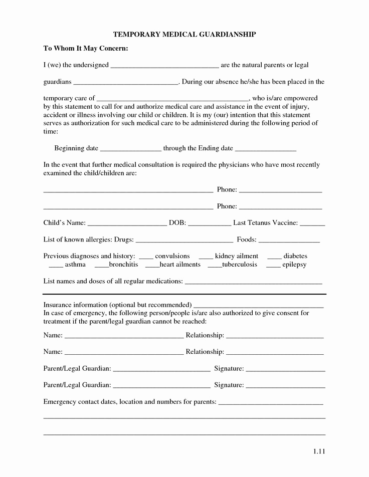 Free Printable Guardianship forms Awesome Free Printable Temporary Guardianship forms