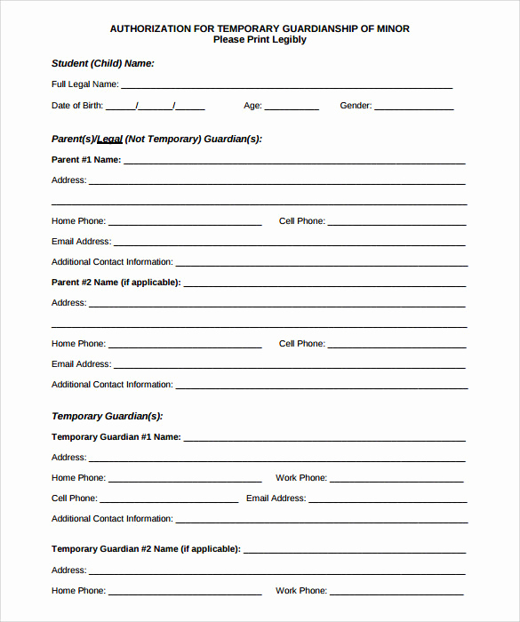 Free Printable Guardianship forms Beautiful 9 Temporary Guardianship form Templates to Download