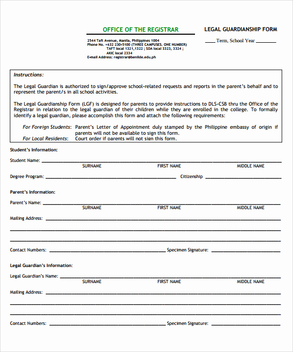 Free Printable Guardianship forms Best Of 9 Temporary Guardianship form Templates to Download