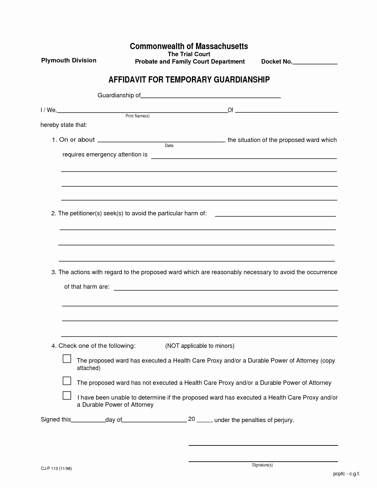 Free Printable Guardianship forms Lovely Temporary Guardianship Agreement form