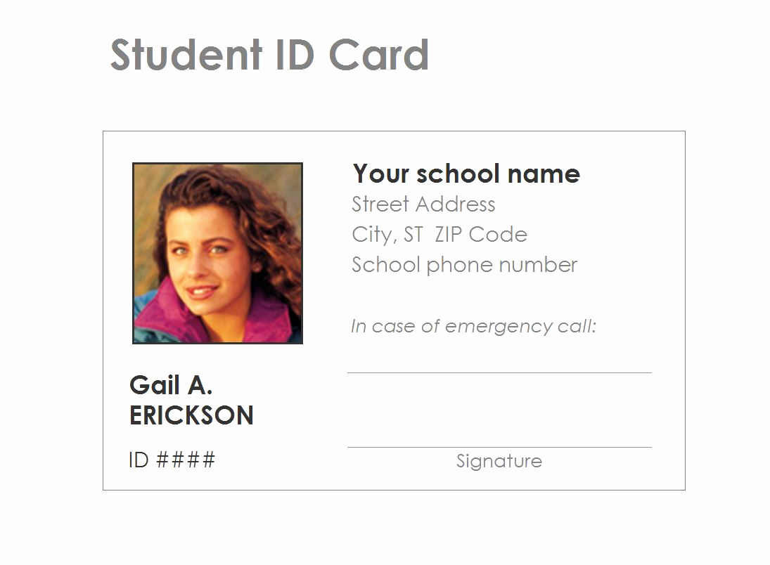 Free Printable Id Cards Templates Awesome Student Identification Card Template