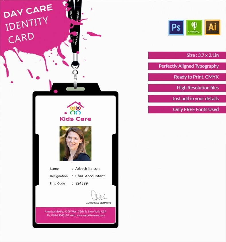Free Printable Id Cards Templates Inspirational Fabulous Day Care Identity Card Template