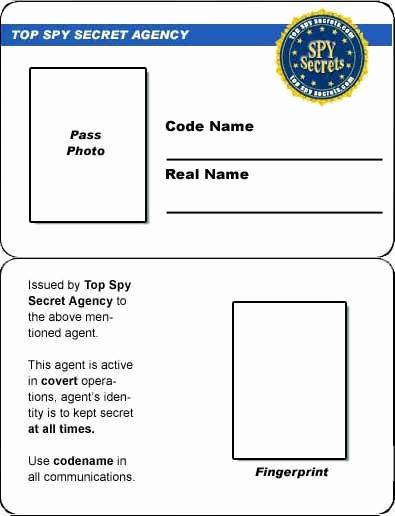 Free Printable Id Cards Templates Luxury Credit Card Spy Id Card