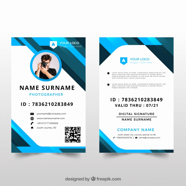Free Printable Id Cards Templates Luxury Id Card Template with Flat Design Vector