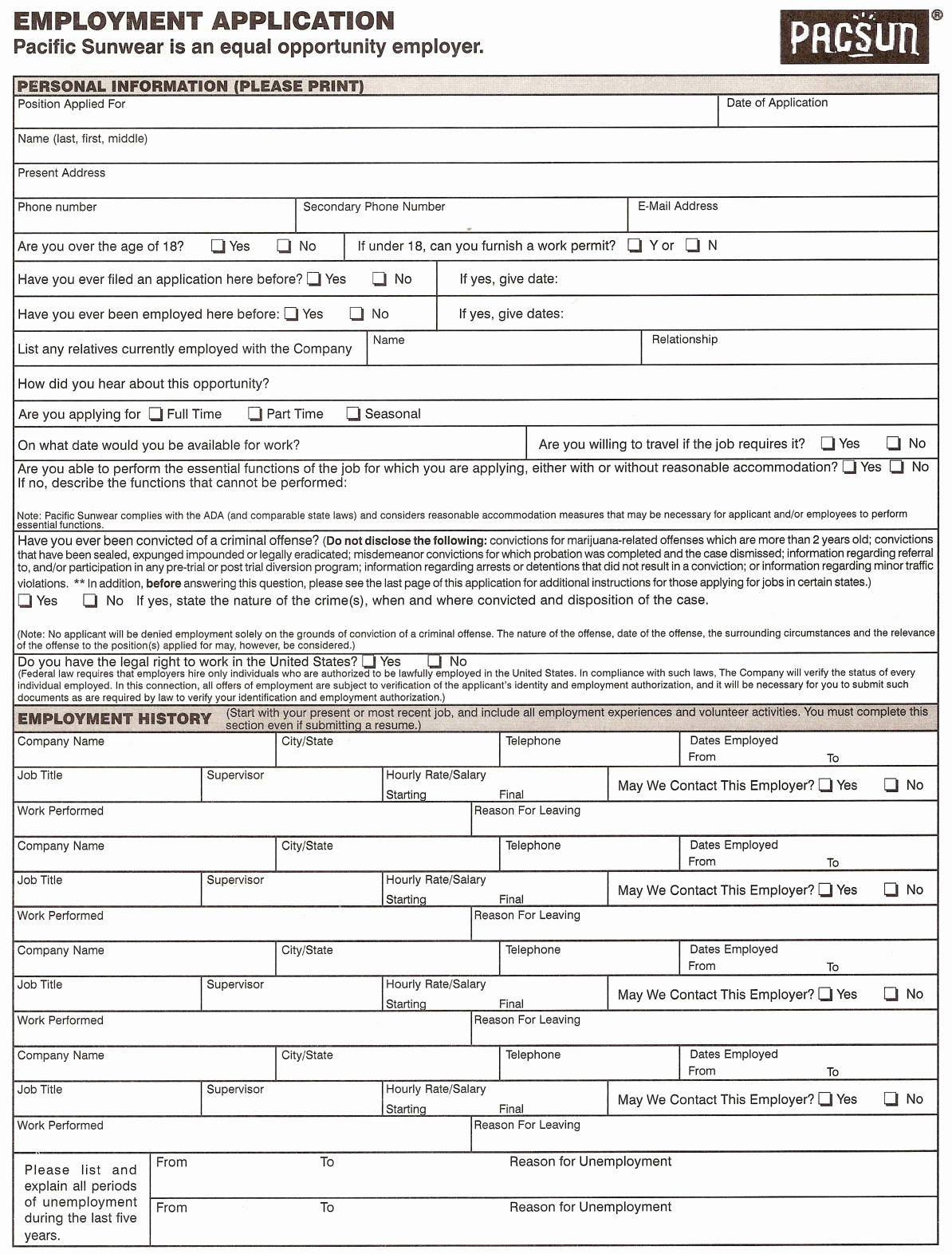 Free Printable Job Application Elegant Pacsun Application