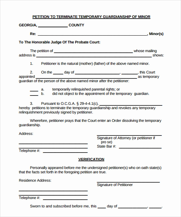 Free Printable Legal Guardianship forms Awesome 9 Temporary Guardianship form Templates to Download