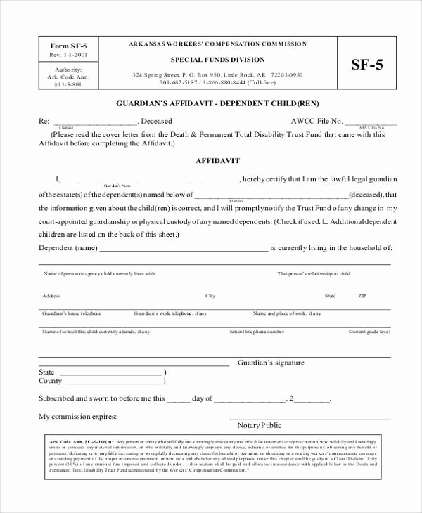 Free Printable Legal Guardianship forms Beautiful Sample Guardianship Affidavit forms 8 Free Documents In Pdf