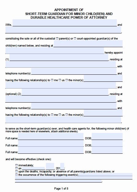 Free Printable Legal Guardianship forms Lovely Free California Guardianship for A Minor Poa form