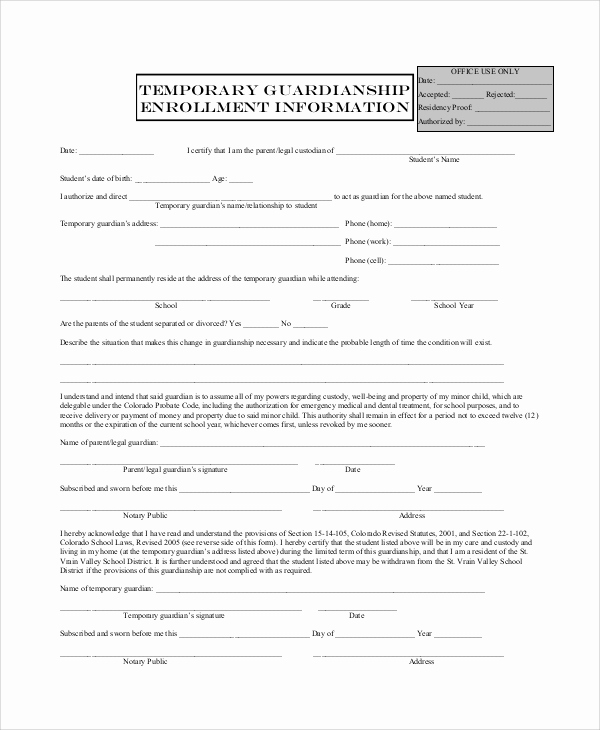 Free Printable Legal Guardianship forms New 10 Sample Temporary Guardianship forms Pdf