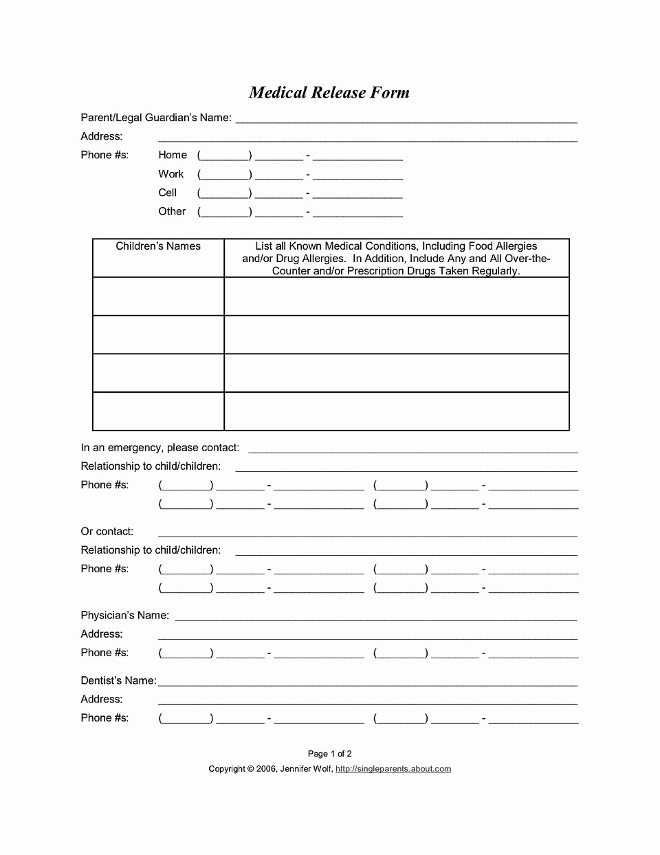 Free Printable Medical forms Awesome Medical Release form for Consent to Treat Your Kids