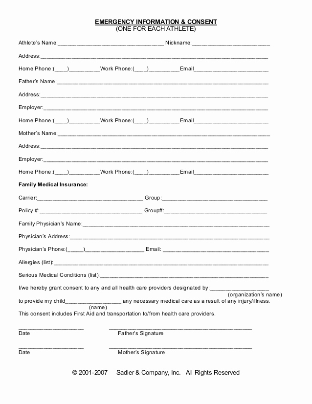 Free Printable Medical forms Best Of Emergency Information Medical Consent form