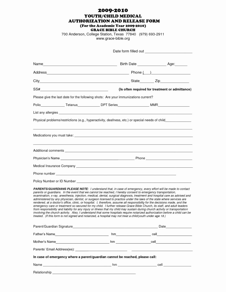 Free Printable Medical forms Best Of Free Printable Child Medical Consent form Letter Examples
