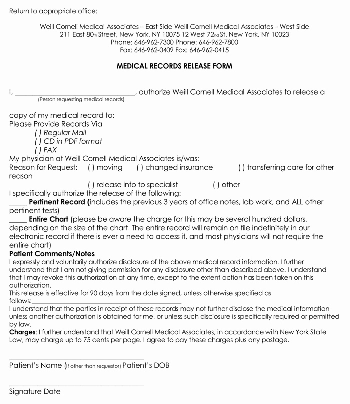 Free Printable Medical forms New 20 Samples Of Medical Records Release & Authorization forms