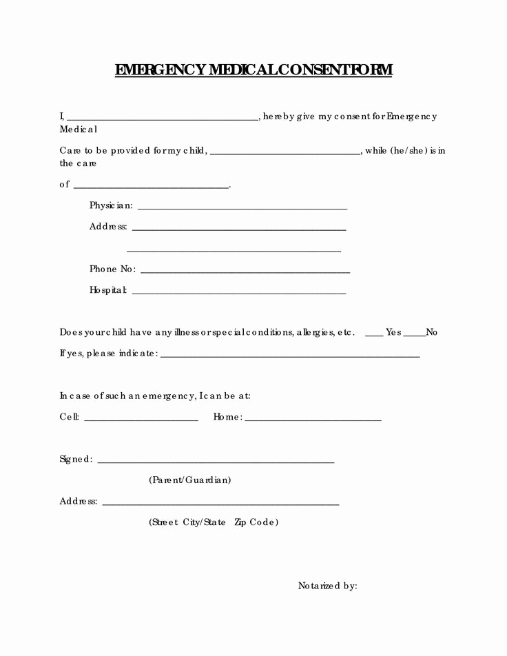 Free Printable Medical forms New Free Printable Medical Consent form