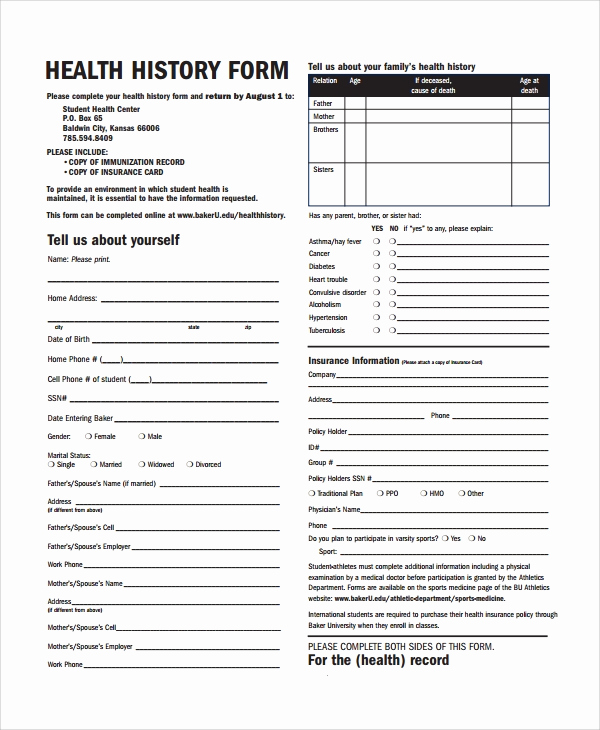 Free Printable Medical History forms Best Of Sample Health History Template 9 Free Documents