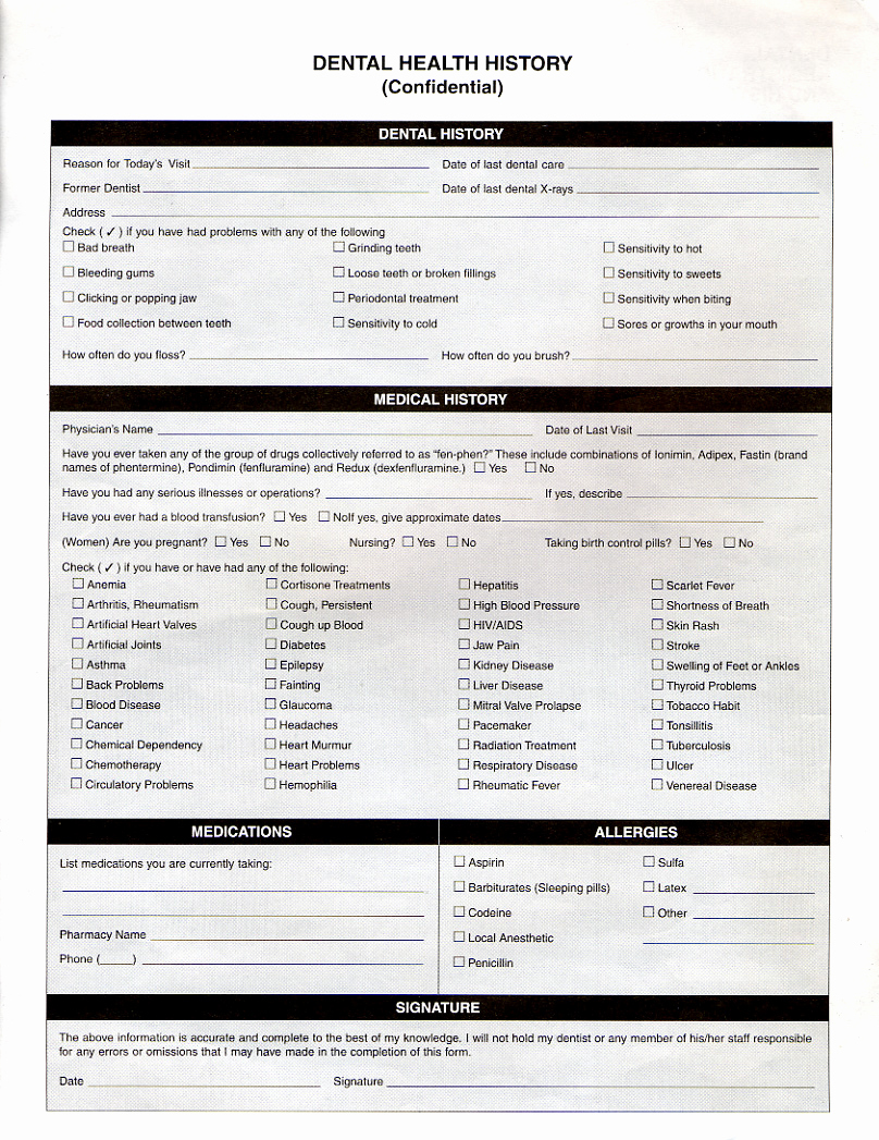 Free Printable Medical History forms Fresh Free Blank Medical forms form Blank Medical History