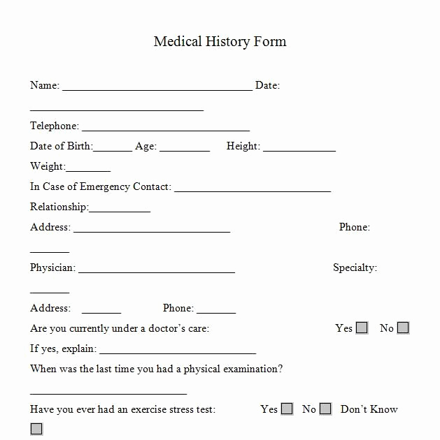 Free Printable Medical History forms Fresh Printable Medicalhistory forms In Word and Pdf format