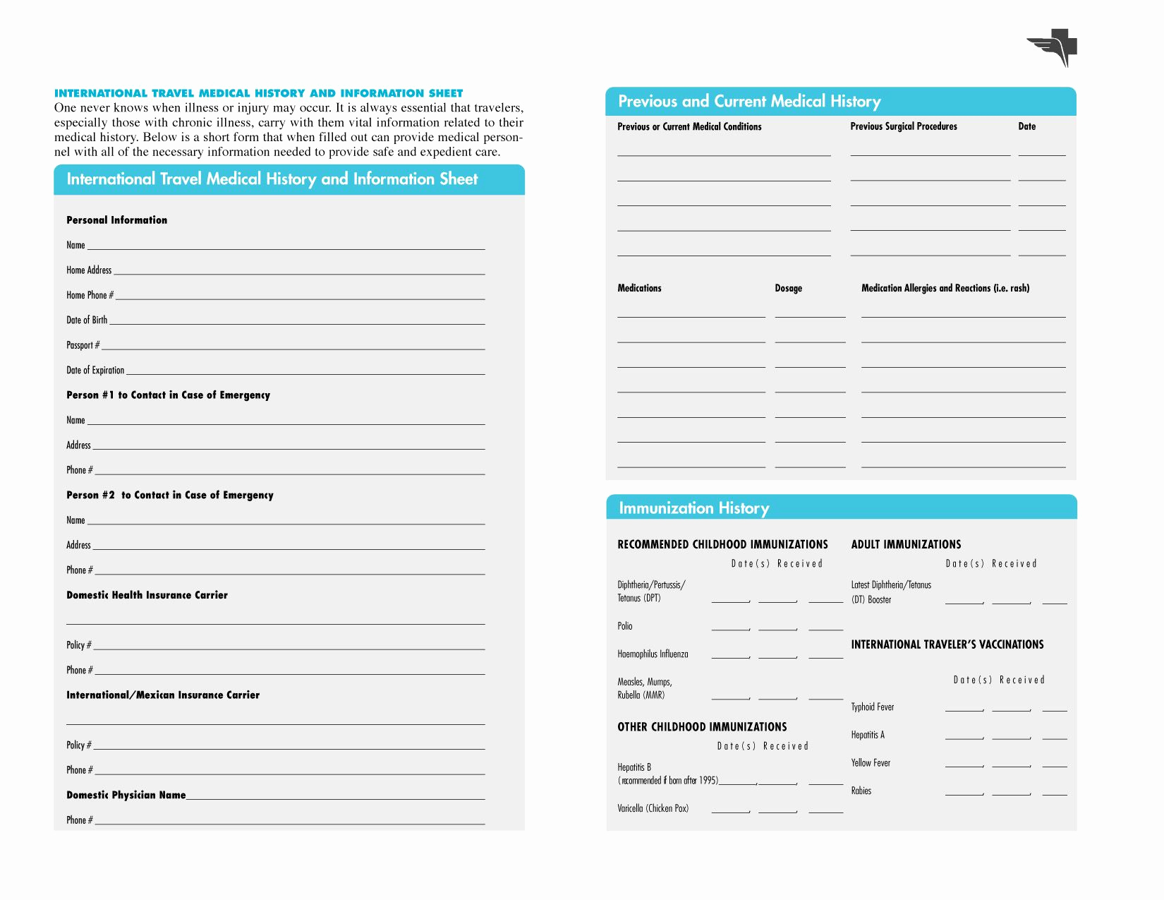 Free Printable Medical History forms Inspirational Free Printables