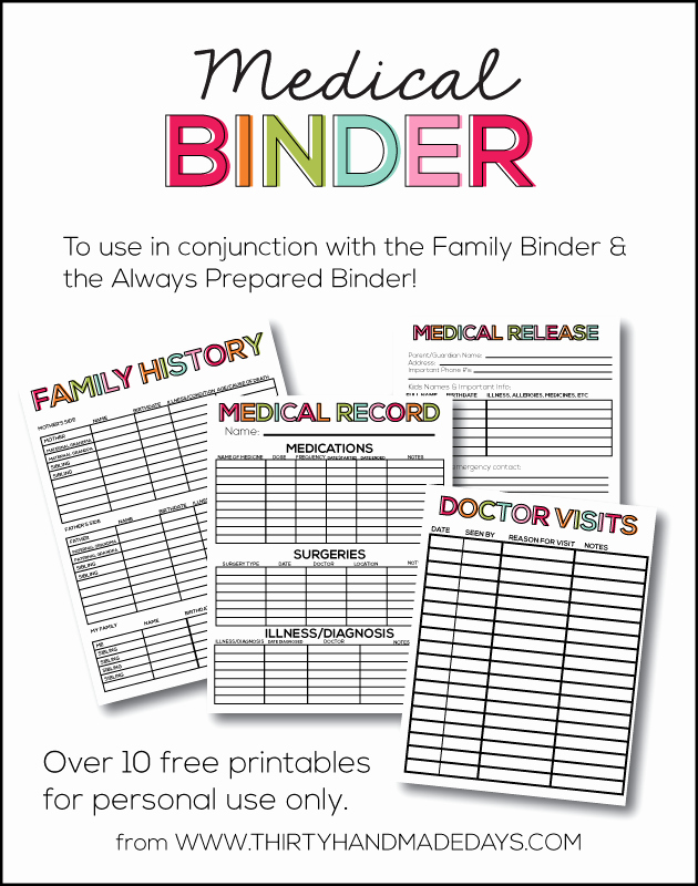 Free Printable Medical History forms Unique Medical Binder