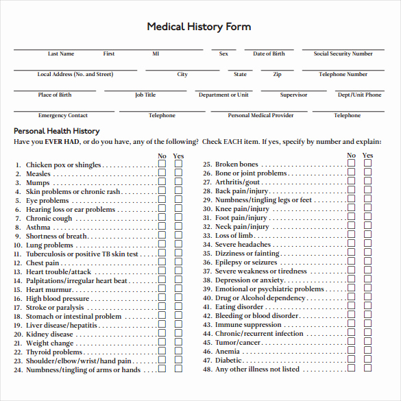 Free Printable Medical History forms Unique Medical History form 7 Download Free Documents In Pdf Word