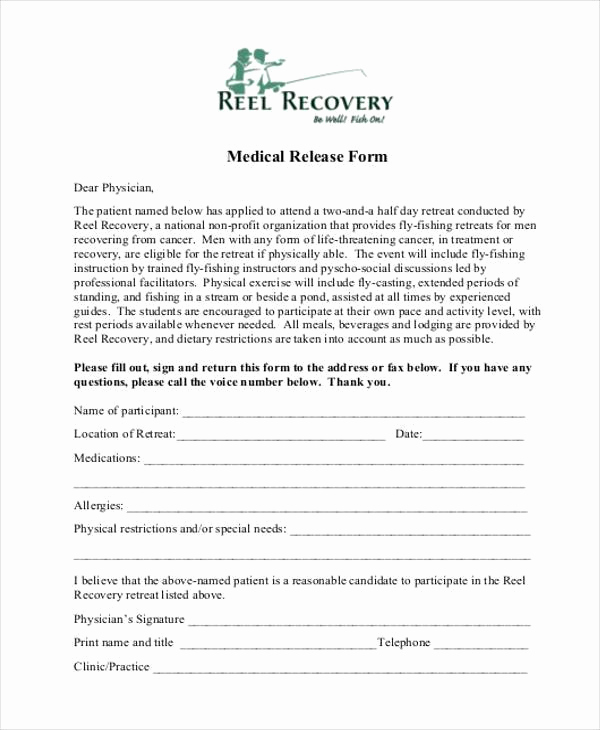 Free Printable Medical Release form Beautiful 8 Medical Release form Samples Free Sample Example