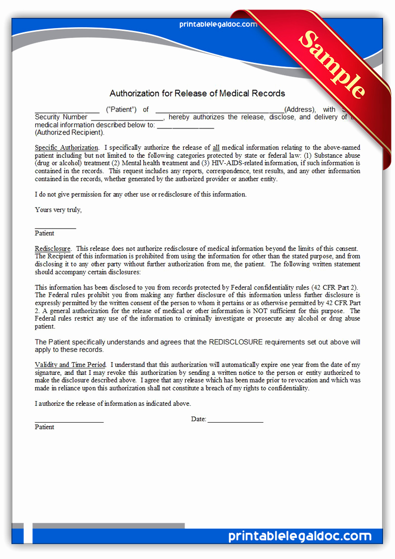Free Printable Medical Release form Best Of Free Printable Authorization for Release Medical