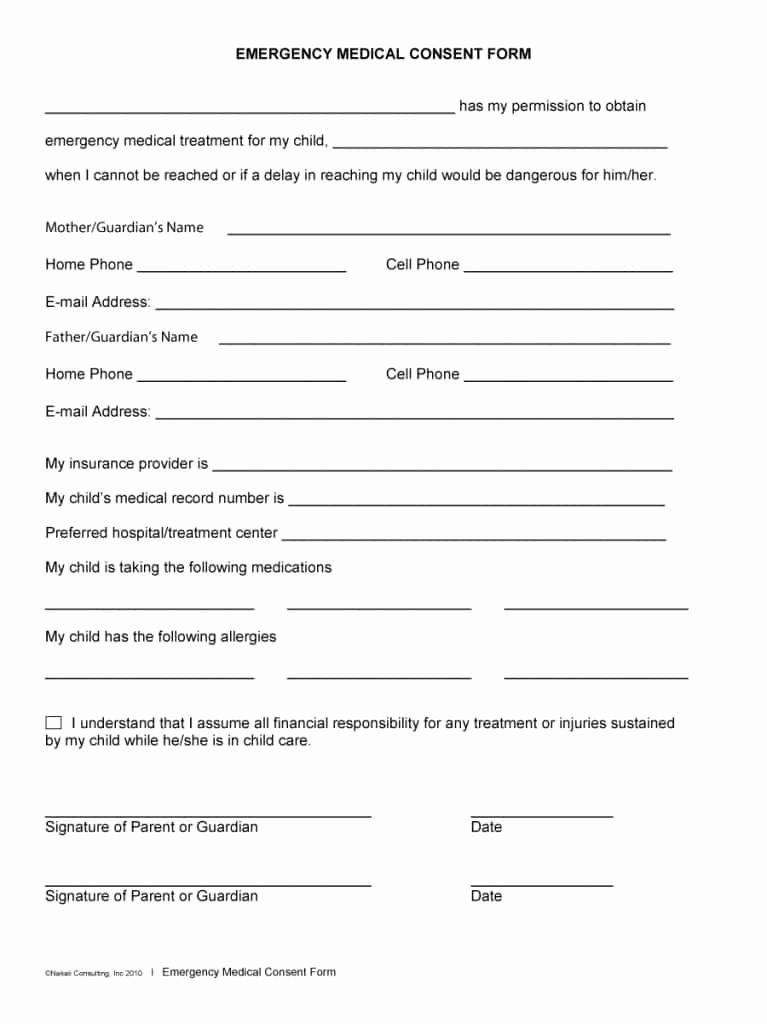 Free Printable Medical Release form Elegant 45 Medical Consent forms Free Printable Templates