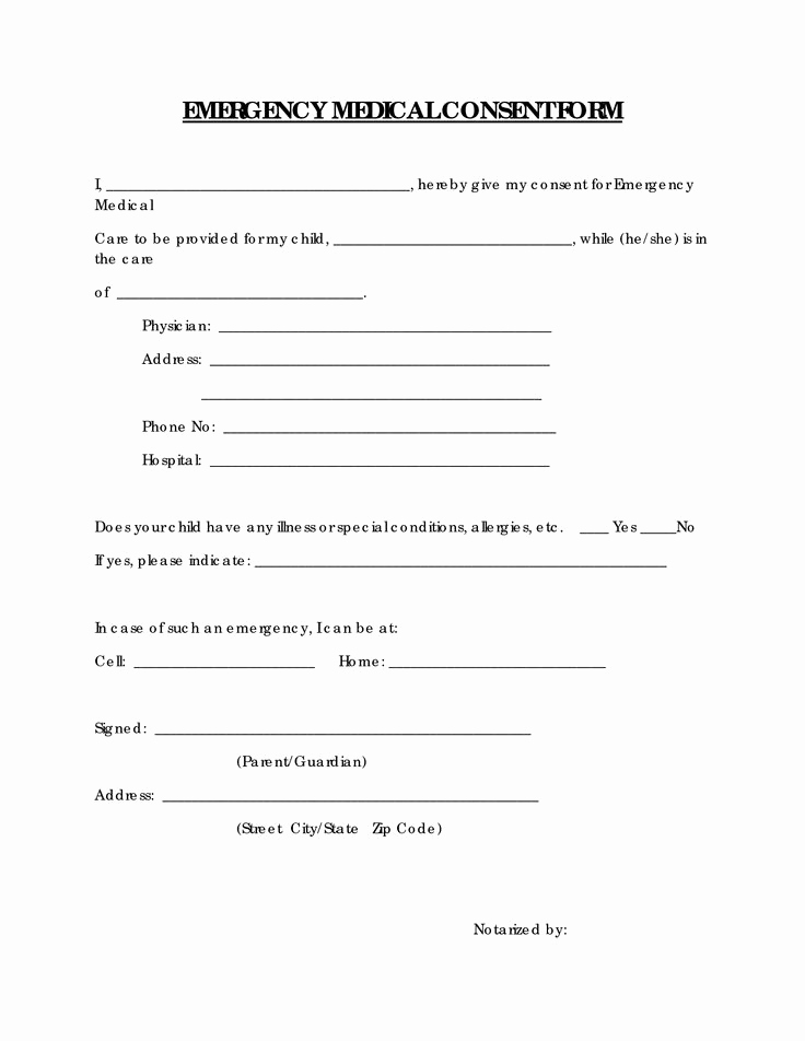 Free Printable Medical Release form Fresh Free Printable Medical Consent form