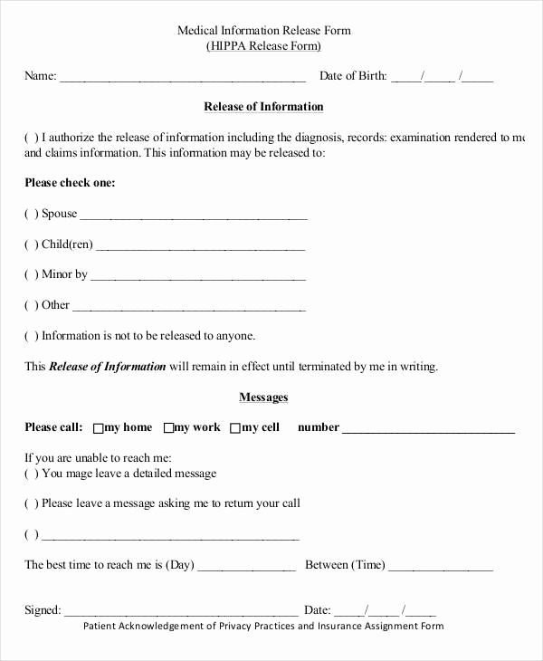 Free Printable Medical Release form Fresh Medical Release forms