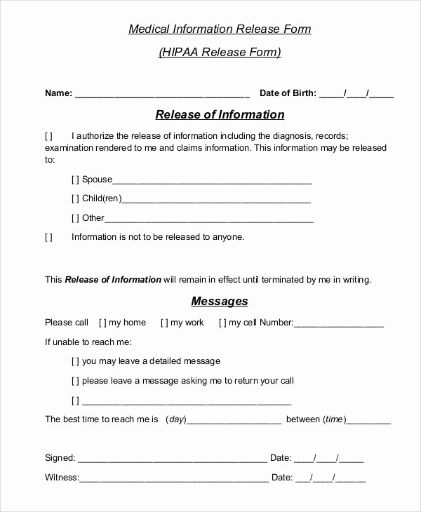 Free Printable Medical Release form Fresh Printable Medical forms