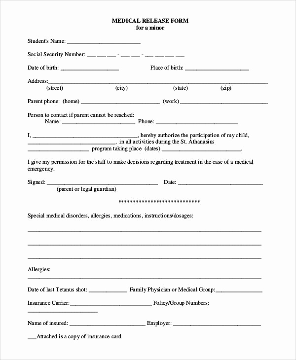 Free Printable Medical Release form Unique 47 Printable Release form Samples & Templates Pdf Doc