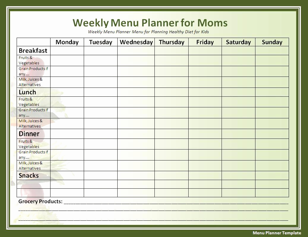 Free Printable Menu Template Beautiful Printable Menu Planner Template