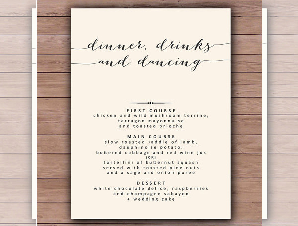 Free Printable Menu Template Best Of Dinner Menu Templates 35 Free Word Pdf Psd Eps