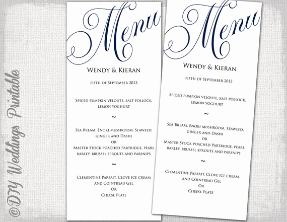 Free Printable Menu Template Best Of Wedding Menu Template Navy Blue Wedding Menu Diy Wedding Menu