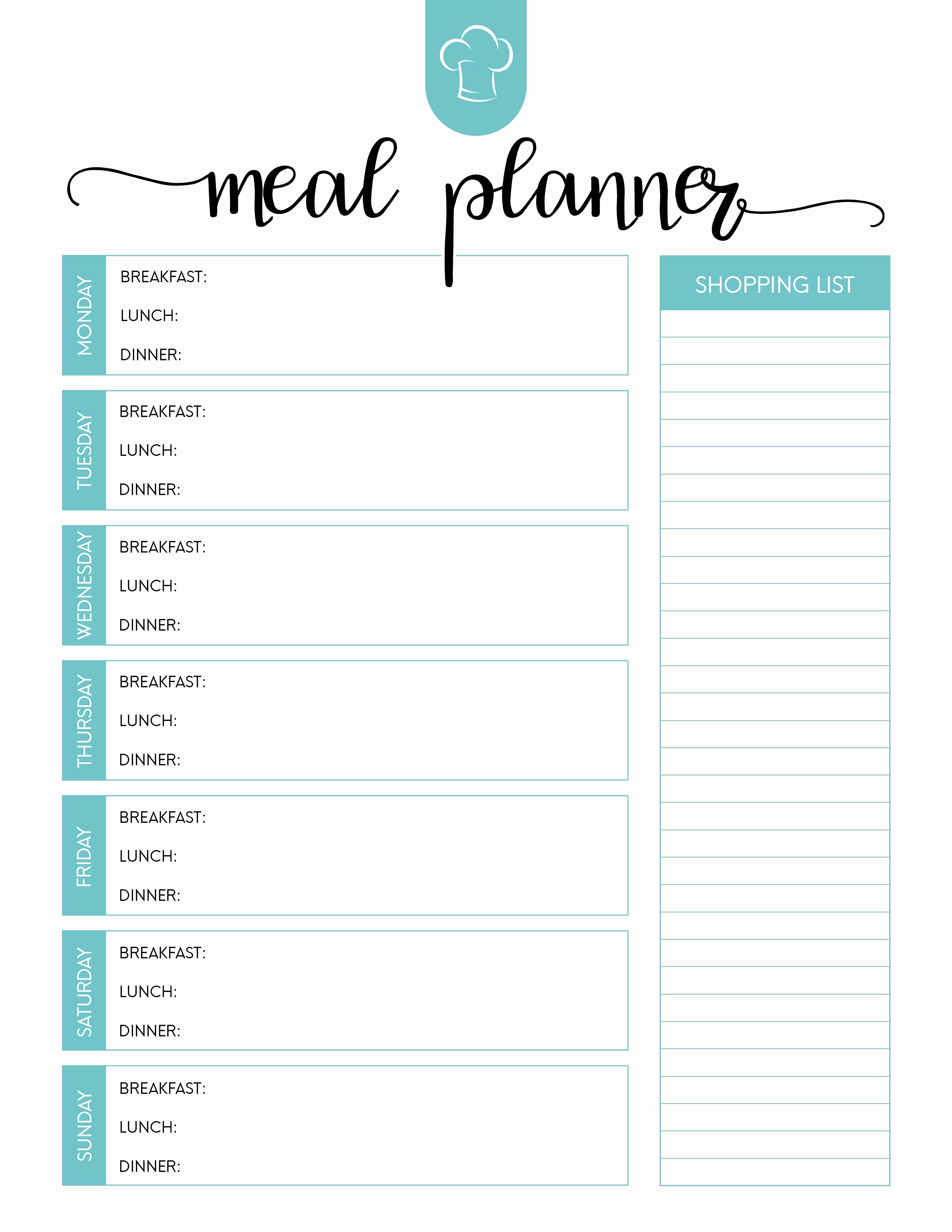 Free Printable Menu Template Elegant Printable Meal Planning Template Dinner Planner Blank Plan