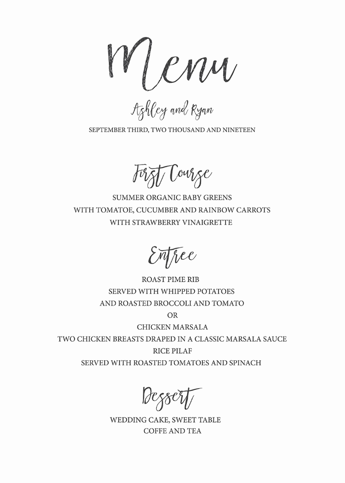 Free Printable Menu Template Fresh Print Timeless and Simple Free Printable Wedding Menu