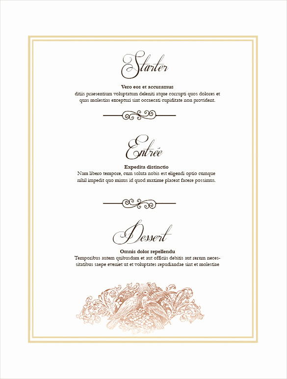 Free Printable Menu Template Inspirational 36 Wedding Menu Templates Ai Psd Google Docs Apple