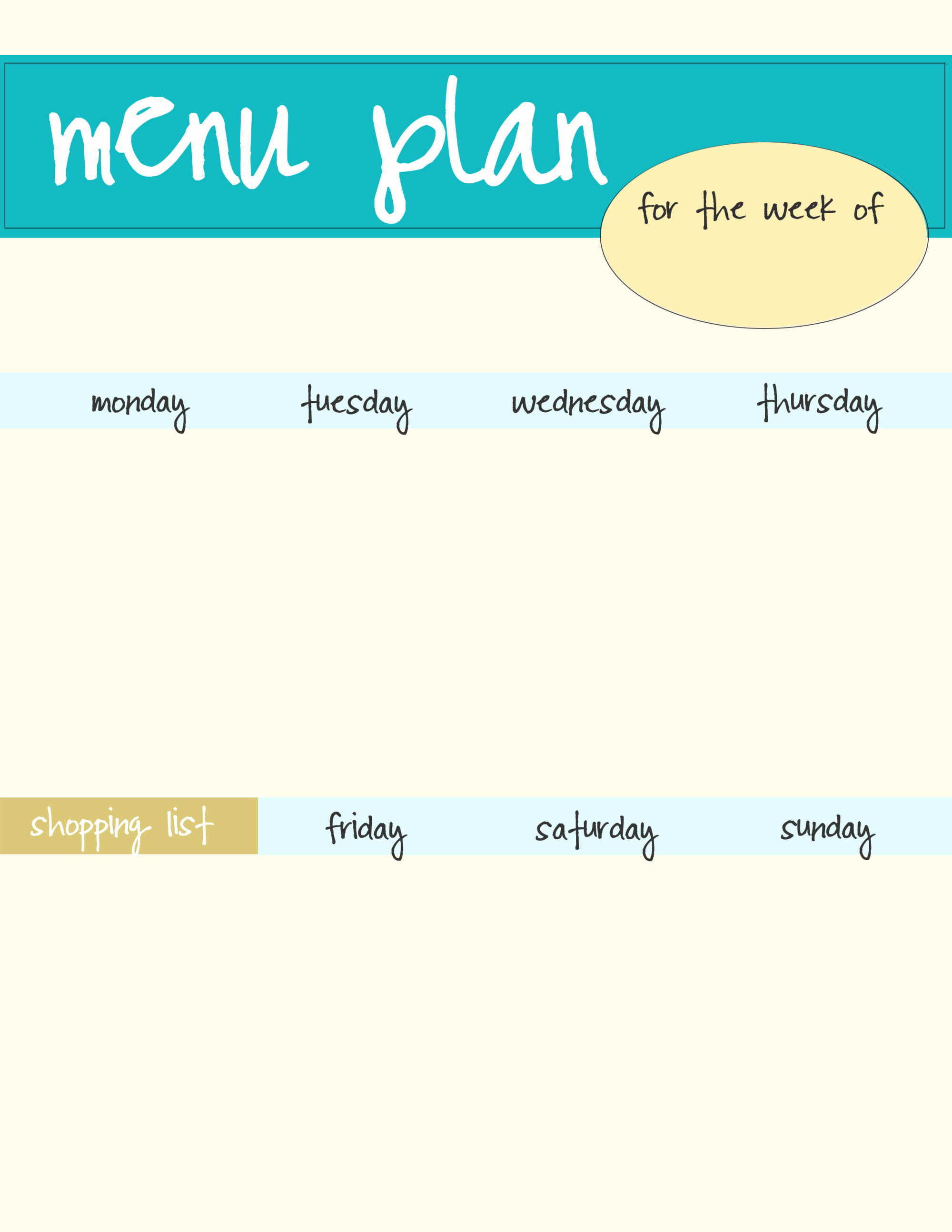 Free Printable Menu Template Inspirational Meal Planning Template Free Download