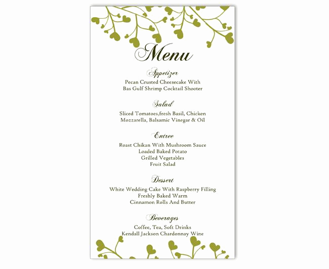 Free Printable Menu Template Inspirational Wedding Menu Template Diy Menu Card Template Editable Text