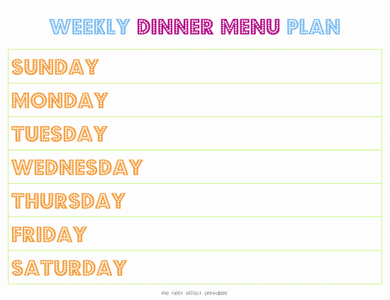 Free Printable Menu Template Lovely Weekly Menu Template