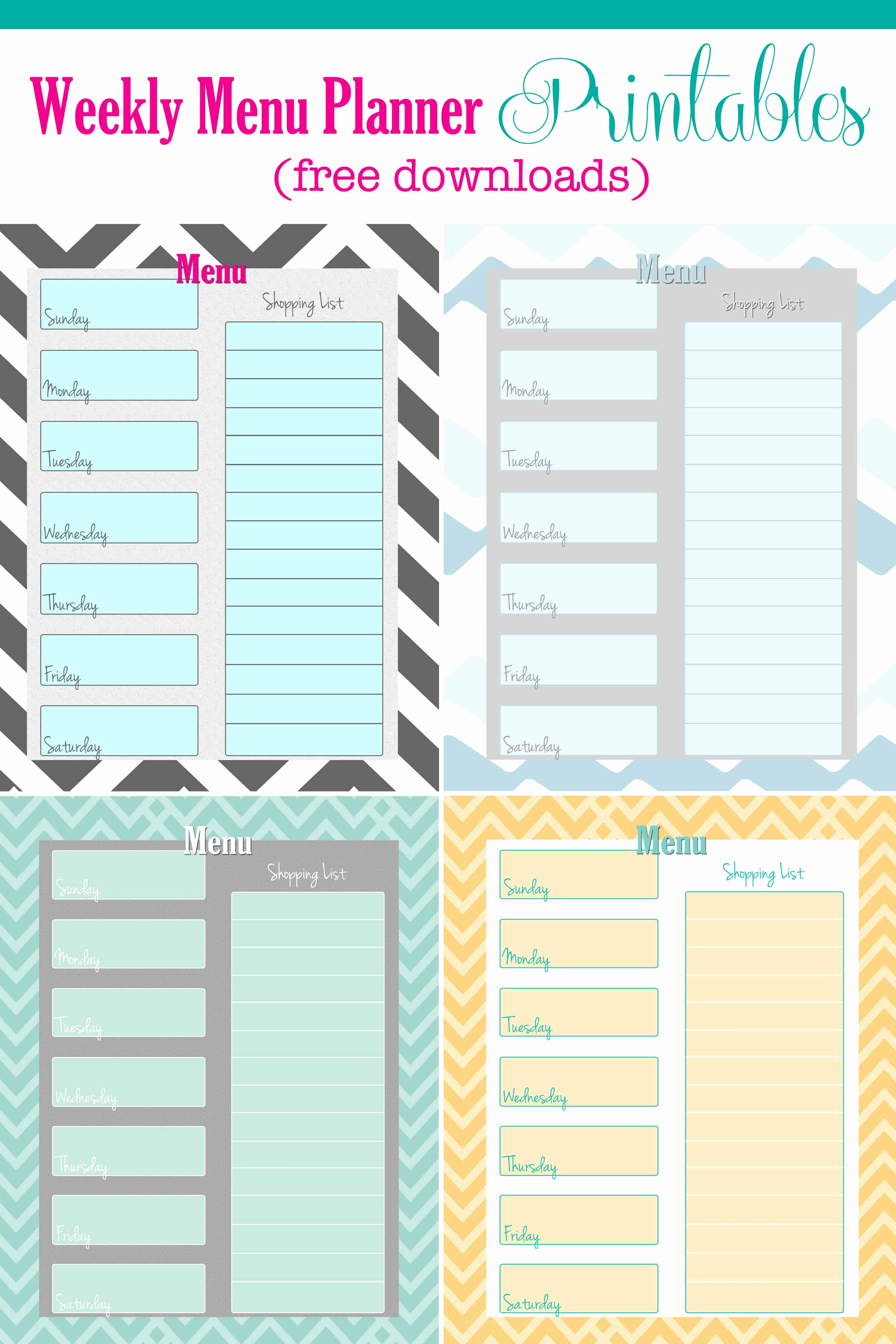 Free Printable Menu Template Luxury Free Weekly Menu Planner Printable 4 Colors Cupcake