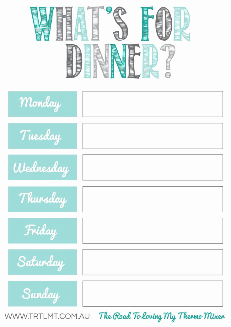 Free Printable Menu Template New Free Meal Planning Printables