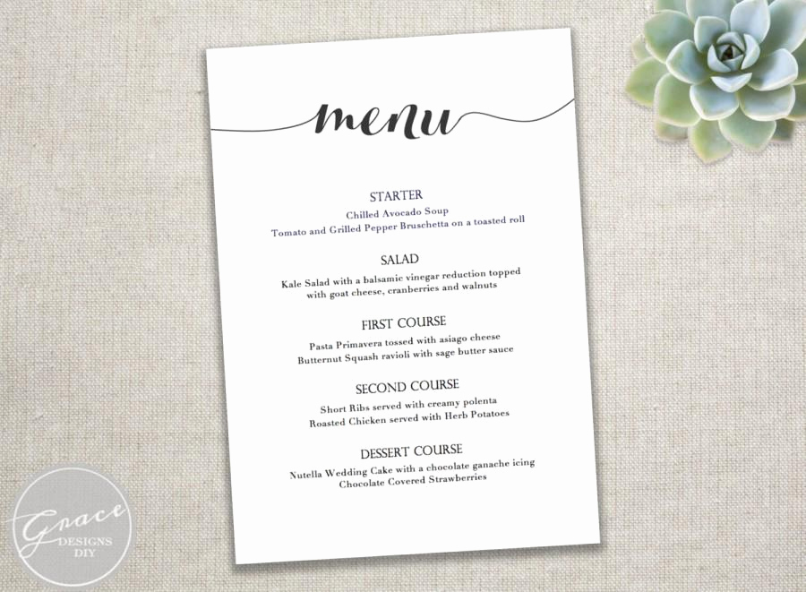 Free Printable Menu Template Unique Printable Black Menu Template Calligraphy Style Script