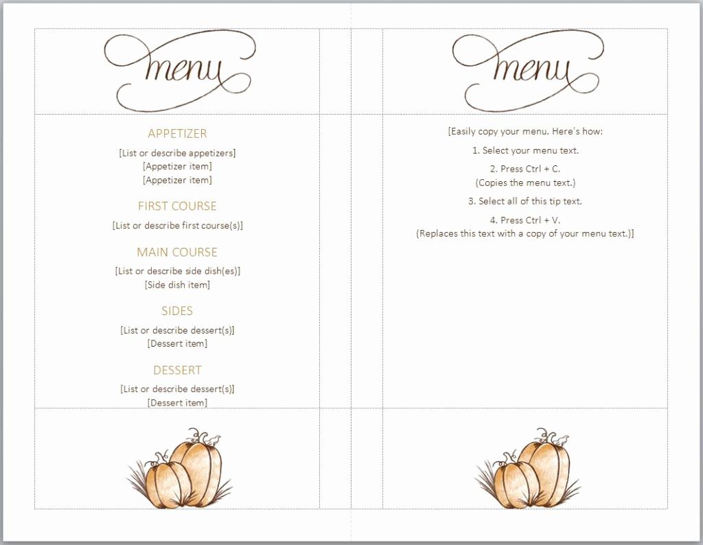 Free Printable Menu Templates Awesome Thanksgiving Menu Template