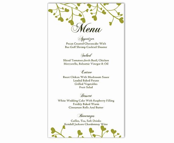 Free Printable Menu Templates Beautiful Wedding Menu Template Diy Menu Card Template Editable Text