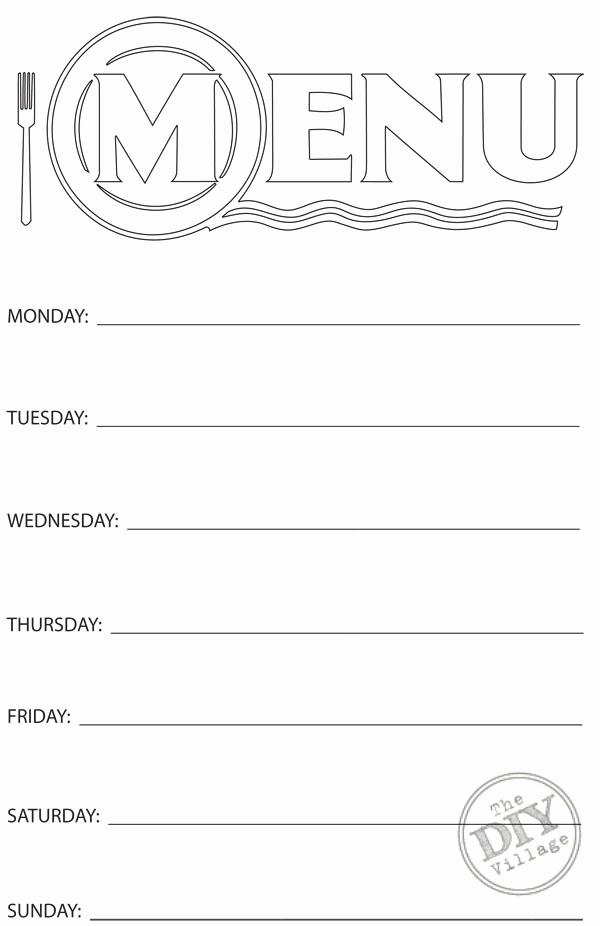 Free Printable Menu Templates Elegant Free Printable Weekly Menu Planner the Diy Village