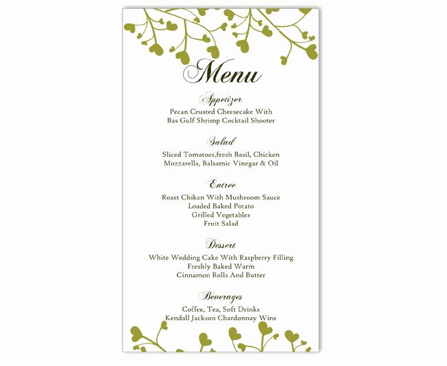 Free Printable Menu Templates Elegant Wedding Menu Template Diy Menu Card Template Editable Text