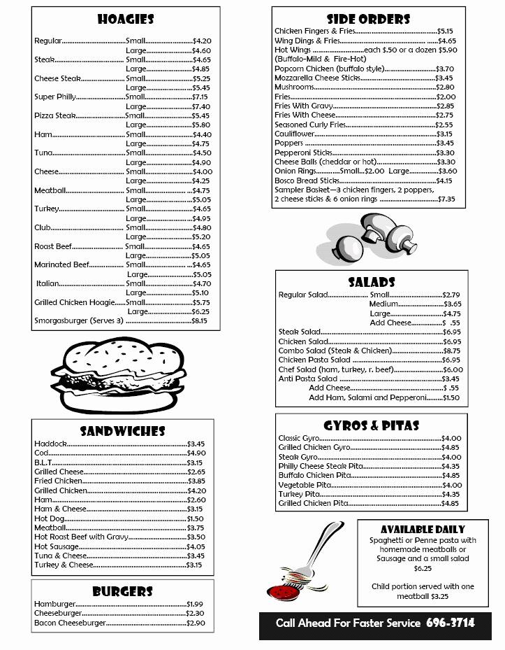 Free Printable Menu Templates Fresh Box Lunch Menu Template