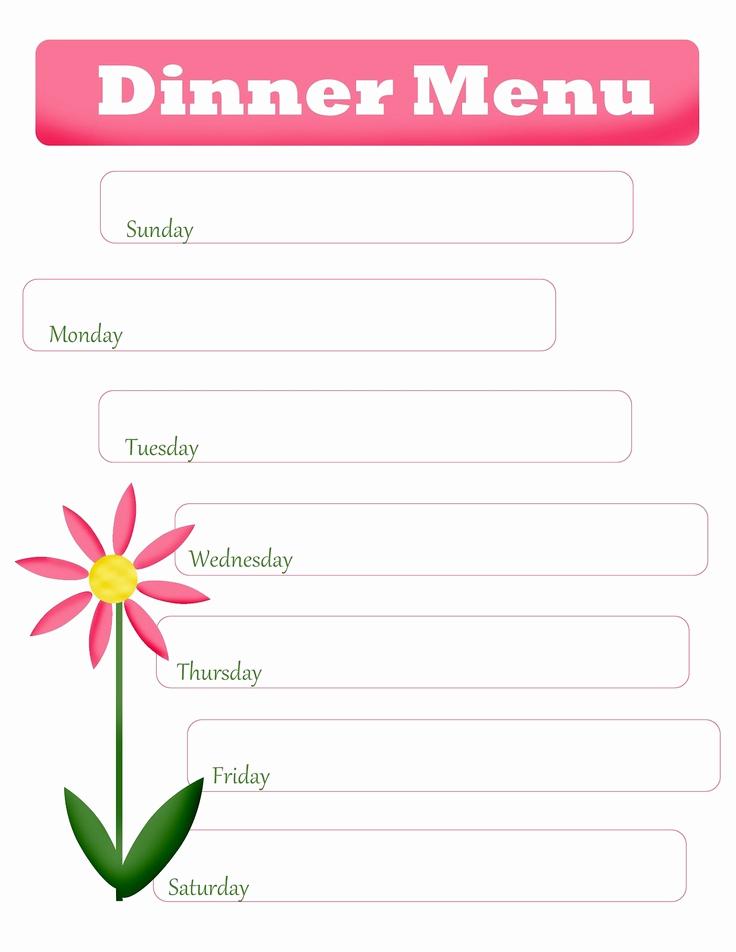 Free Printable Menu Templates Inspirational Mom S Menu Planning Free Printable Blank Dinner Menu