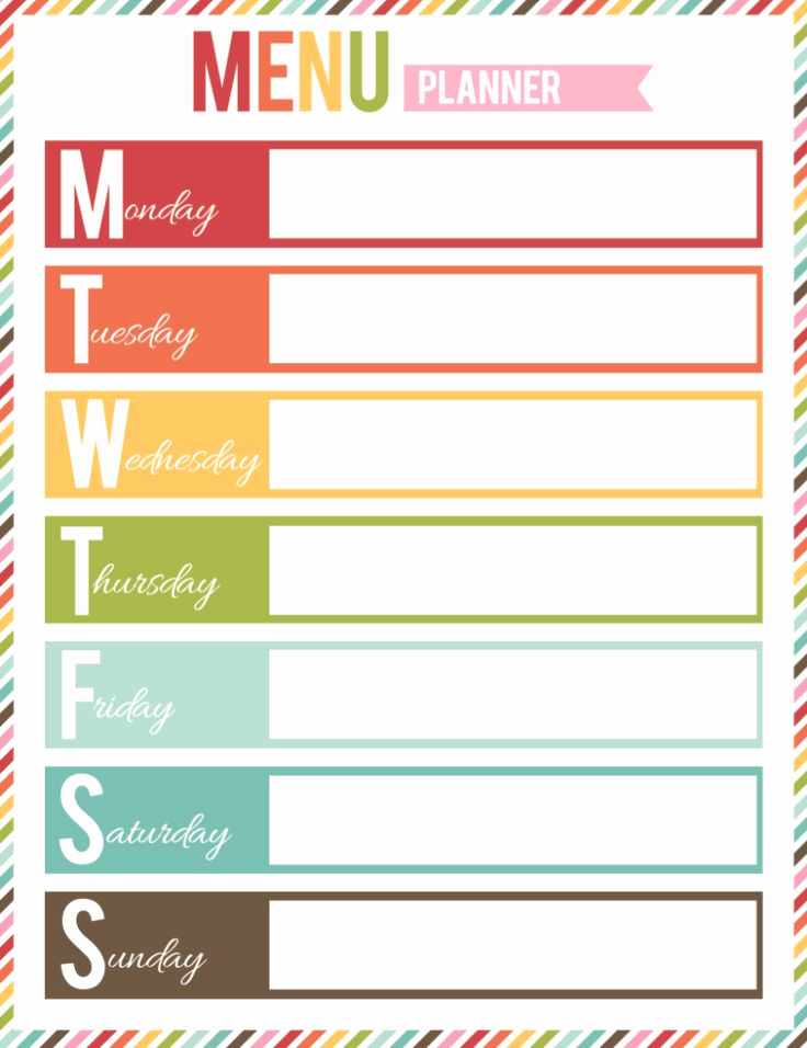Free Printable Menu Templates Luxury Free Printable Menu Planner organization